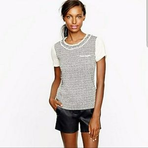 J. Crew Silk Blend S/S Tweed-front Tee in Black